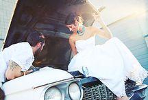 Plener ślubny z autem