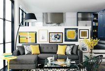 Wohnzimmer grau - gelb