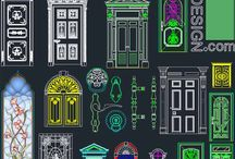 door, window and decorative hardware designs collection (AutoCad symbols) / Autocad symbols of decorative doors, windows, door hardware designs and stained glass cad file