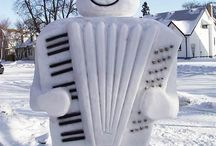 Snow Mann, Bonhomme de neige, Snow Sculpture..... / Sympathique, Familier...... / by leela