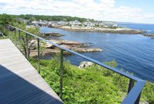 Ogunquit, Maine / Just north or Portsmouth Maine, this home in Ogunquit has an incredible view of the Atlantic Ocean. Going with the thinnest most transparent design and fabricating the railing from Type 316 Marine Grade stainless steel was just the right choice for maintaining this breath taking view and fighting the salt water environment. On site welding was required to create a seamless look throughout the railings design.
