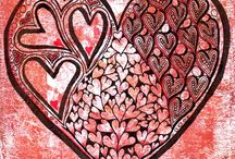 """Valentangle 2016 / 14 day (1-14.02.2016) study project of using heart shapes (patterns, strings, etc.) in ZIAs and classic Zentangle(R) tiles.  Activity offered by """"Valentangle 2016"""" Facebook group."""