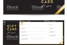 Golden Glitter & Gift Cards / Vector Illustrations Of Gold, Glitter & Gift Cards