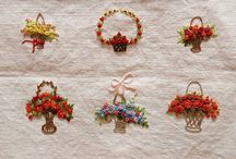 basket flowers embroidery