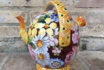 """Bontempo ceramiche 1862 Pottery flower / Decoro floreale dei campi d'Abruzzo  molto """"Petaloso"""""""