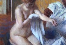 Bathing woman paintings