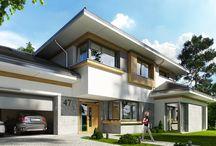 Projekt domu Spokojny zakątek / Projekt domu Spokojny zakątek to projekt piętrowej luksusowej willi miejskiej, przeznaczonej dla 4-6cioosobowej rodziny.