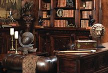 Future dark library / A dark, warm, cosy place with big leather chairs, a fireplace and infinite cups of tea.