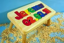 Stand and Play / Personalized wood stools that can also be used as puzzles