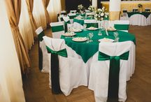 white green and gold table setting