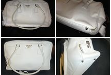 Prada Handbags Repaired and Restored / Photos of stained, damaged, torn, dirty and worn out Prada handbags and purses that we have lovingly cleaned and restored.