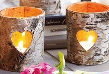 Подсвечники и вазы из коры