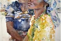 People and portraits in watercolor / Ich liebe das Aquarell und Portraits bieten wunderbare Möglichkeiten für die Malerei. I love the watercolor portraits and offer wonderful opportunities for painting. #Aquarell #watercolor #Portraits #Malerei #Painting