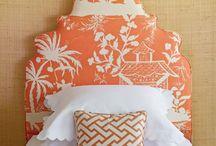 Bedroom; turquoise / orange