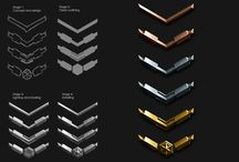 Ranks and Awards / Military Ranks / Awards / Game achievement symbols and graphics.