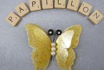 GRANDS PAPILLONS ET LIBELLULES DE DECORATION / Grands papillons et libellules de soie et transparents en 3 D à accrocher ou à suspendre