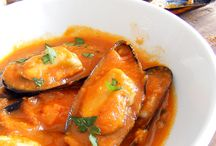 cocina sencilla con productos del mar