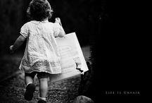 Black and white photos.