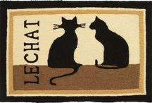 Cat Themed Home Comforts / Cushy throw pillows and accent rugs with fun cat images.