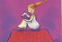 Night reading / Ночное чтение / Мы часто читаем в постели, вечером, перед сном, при бессоннице. Иллюстрации это подтверждают