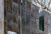 Rusty metal clad homes