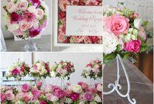 ブーケ・会場装花 [ ピンク ] / ブーケや会場装花、花冠等のウェディングフラワーを中心に、ケーキ、ドレス、招待状、シューズ、アクセサリー等、結婚式のイメージをカラー別にまとめたボードです。