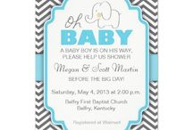 ELEPHANT: Boy Baby Shower Invites / Elephant Baby Shower Invitations and accessories for Boys / Blue, Green, Yellow Invites