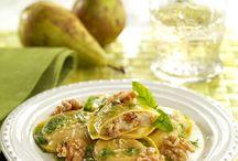 Ravioli con peras