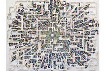 "MULTIVERSE / Multiverse is made of smaltis, Glow-in-the-dark and gold tiles, clockwork parts, lego's, polymer clay moulding and computer parts.  2014  1.10 m x 90 cm x 3 cm  Multiverse has been exhibited at the international juried ""Picassiette"" biennial in France and won a ""special distinction"" - 2014"