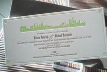 An Asian Skyline / letterpress wedding invitation