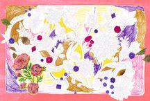 seasons / 季節の作品達です。 #animal #frame #枠 #動物 #広告 #花 #flower #デザイン #お洒落 #可愛い #線画 #コラージュ #collage #illustration #kanakobayashi #art #illust #季節 #cosme #クリスマス #ハロウィン #teatime #春 #夏 #秋 #冬