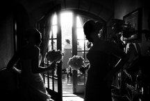 Wedding photography / B & W here comes the bride