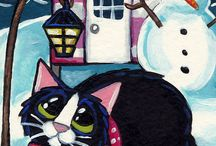 It's A Cat's Life Greeting Cards / 'It's a Cat's Life' is an ongoing series of ACEO (Art Card Editions and Originals) paintings featuring a multitude of feline characters. I've lost count of how many I've painted but my most popular are available as greeting cards.