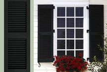 Walpole Outdoors Shutters / Louvered and raised panel shutters are ideal for home styles such as federal manor, traditional colonial, and craft cottages. Combination style shutters may be matched with a number of options allowing you to personalize your shutter detailing. The highly attractive Bahama Caribbean style shutters allow soft, diffused light for comfort and privacy indoors. / by Walpole Outdoors