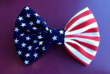 Red White & Bow / Patriotic Hair bows