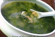 Soup of Escarole & Beans / Kitchen Wisdom Gluten Free Escarole & Bean Soup Recipe SOUP of ESCAROLE & CANNELLINI Kitchen Wisdom Gluten Free  Cannellini are white kidney beans and a delicious vegetable protein ingredient in many countryside Southern Italian Recipes. I mash a half cup of the cannellini beans to thicken the soup...https://www.facebook.com/pages/Kitchen-Wisdom-Gluten-Free/421420191308595