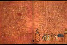 """Codex Sinopensis / Sinope Gospels SignO 6th-century Sinope 1899 Bibliothèque nationale de France Size30 x 25 cm TypeByzantine CategoryV  """"El yazması kitabe, Matta incilini içerir ve hasar görmüş 44 sayfa parşömenden oluşmaktadır. Ölçüleri 30 × 25 cm olan sayfalara metin, her sayfada 15 satır içerecek şekilde yazılmıştır.""""  Sahneler:  Yahya'nın başının kesilmesi (Mt 14, 6-12) Ekmek mucizeleri (Mt 14, 15-21) - (Mt 15,32-38) 2 körün gözlerinin açılması (Mt 20, 30-34) İncir ağacının lanetlenmesi (Mt 21, 18-20)"""
