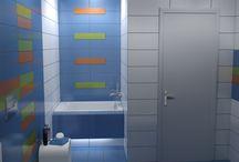 ΠΑΙΔΙΚΟ ΜΠΑΝΙΟ / Μελέτη και σχεδιασμός ενός παιδικού μπάνιου σε μονοκατοικία στην Κομοτηνή με πλαάκια από την σειρά Happy. Επιλέχθηκαν 4 αποχρώσεις White, Naranja, Azul και Verde.