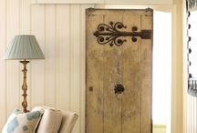 Barn door, sliding doors, pocket doors.