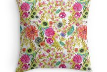 Pillows by Karen Fields / My illustrations created for pillows!