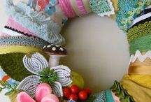 Wreath's and paper or material flowers / by Cheryl Clay