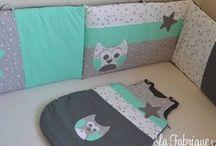 Décoration chambre bébé mint gris blanc