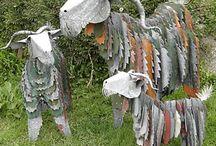 Corrugated iron farm animals