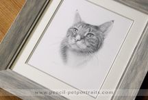 Pencil Pet Portraits Framed / View lots of lovely photos of my pencil pet portraits framed. If you would like your portrait framed just let me know.  My framer Amanda is fabulous and we can work with you on a bespoke frame that suits your style of home and personal taste.