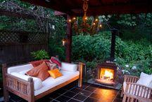 fireplace under gazebo