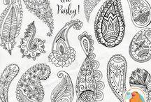 Богемные рисунки в графике / графика, рисунки, татуировки, узоры, орнаменты и др.
