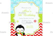Cute Winter Penguin Red Birthday Party / This design features a cute winter penguin in a scarf. The background consists of blue snowflakes, green polka dots and red chevrons.