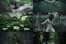 Teveri (Horisont: Stille voktere) / Strange woods, faerie, archers, witches, woodsmen, pans labyrinth, glow in the dark, bohemian, glitter, flowers, green, leather