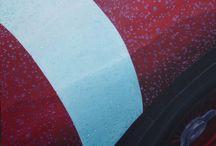 LE PASSAGE ET DE LA PLUIE / VOITURE/ASTON MARTIN/course/PLUIE/ PEINTURE Huile sur toile  90x60
