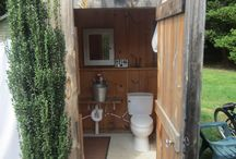 Outside shower and toilet